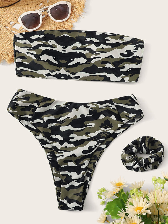 Camo Print High Cut Bandeau Bikini Set With Hair Tie