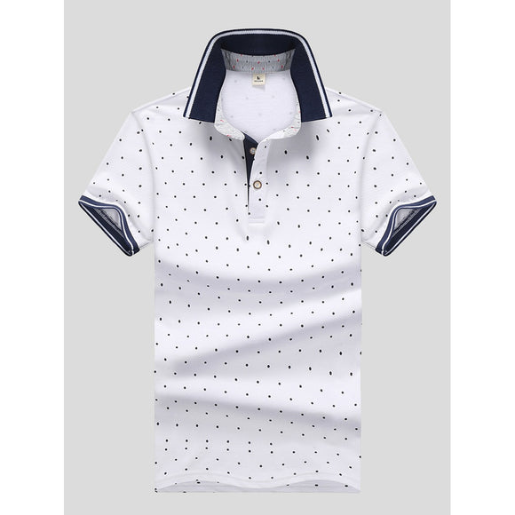 Men Polka Dot Ringer Polo Shirt