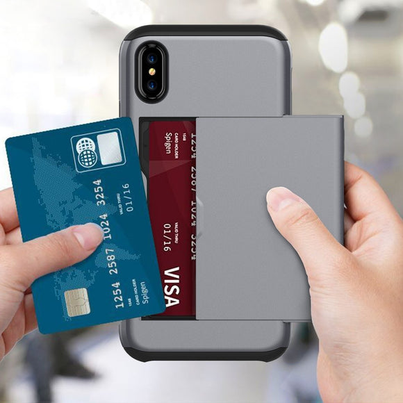New Portable Multifunction Card Pocket Shockproof Slim Hybrid Wallet Case Cover for iPhone X/Xr/Xs/Xs Max