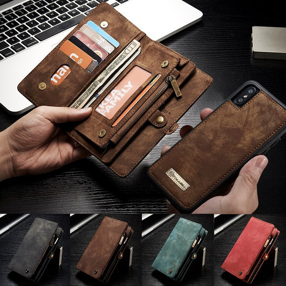 Multifunctional Removeable Zipper Wallet Leather Card Slot Case For iPhone XS / XA MAX / XR / X / 8 / 8 Plus / 7 / 7 Plus / 6 /