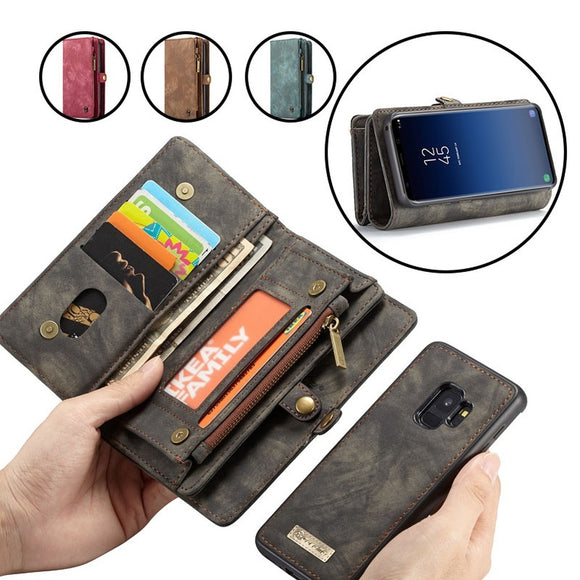 Luxurious Zipper Wallet Case Removable Wallet Leather Case for iPhone 6 6s Plus 7 8 Plus X 10 Samsung Galaxy S7 Edge S8 S8Plus S