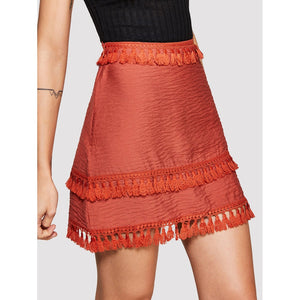 Fringe Hem Zip Up Side Skirt