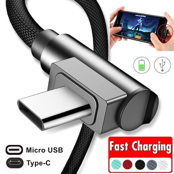 90° Right Angle USB Type-C Charger Cable Micro USB Fast Charging Cord Data Sync Adapter Cable for Samsung S9 S8 S7 Huawei etc. S