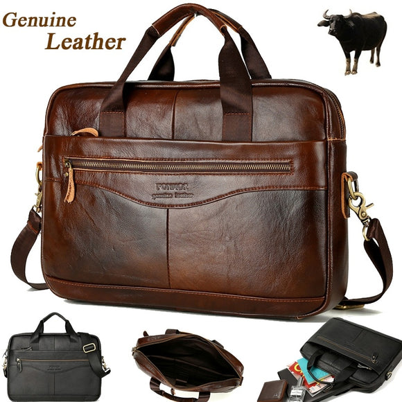 Hot Sell Large Capacity Men Genuine Leather Business Handbag Cowhide Messenger Bag Travel Shoulder Bag Outdoor