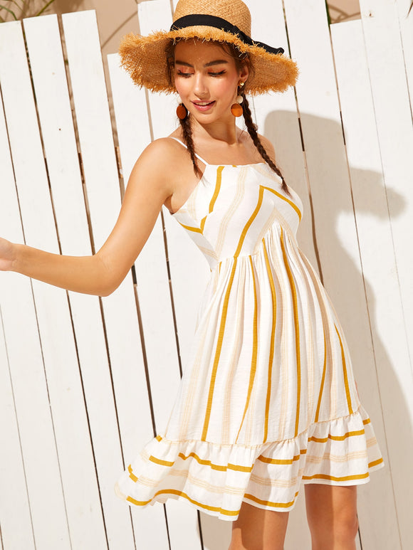 Ruffle Hem Striped Cami Dress