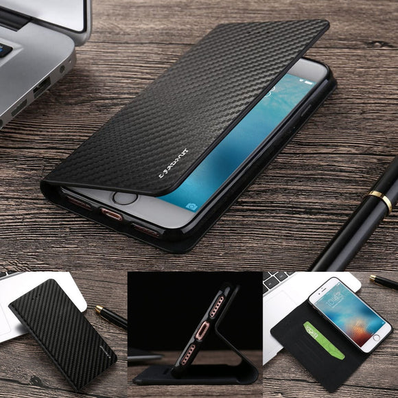 Women/Men Luxury Fashion Magnetic Carbon Fiber Black Leather Flip Wallet Phone Case Cover for Samsung Samsung Galaxy S5 S6 S7 S8