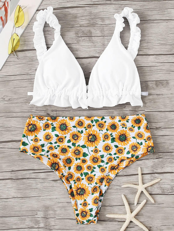 Frill Strap Top With Random Flower High Waist Bikini