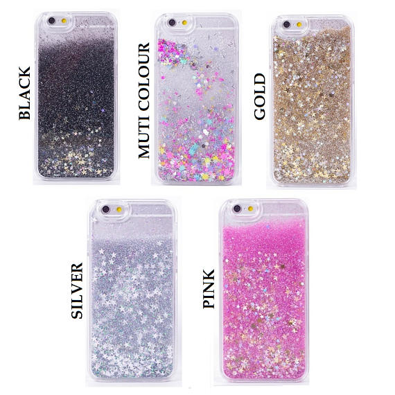 Glitter Bling Sparkle Floating Sequins Latest Design Case Cover For iPhone 4, 5, SE, 6, 6 Plus, 7, Samsung S5, S6, S6 Edge, S7