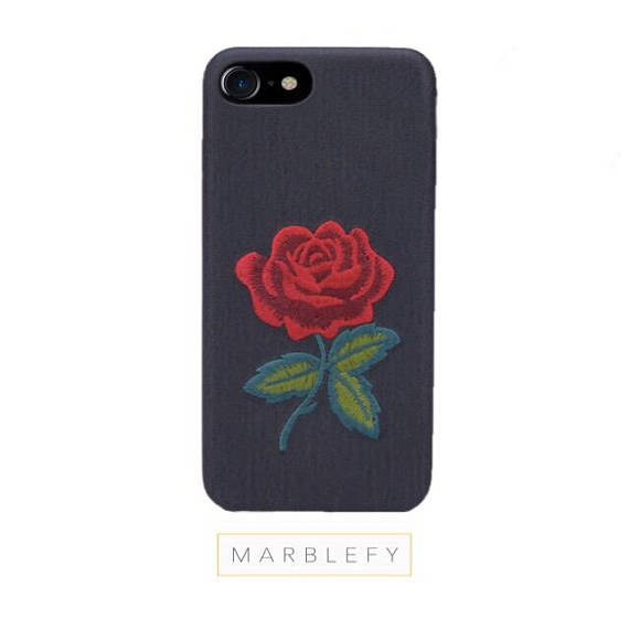 Embroidered roses iPhone case, patched flower, stitched rose , iPhone 6, 6 Plus, 7 , 7 Plus,8 ,8 Plus, iphone case, iphone 6 case