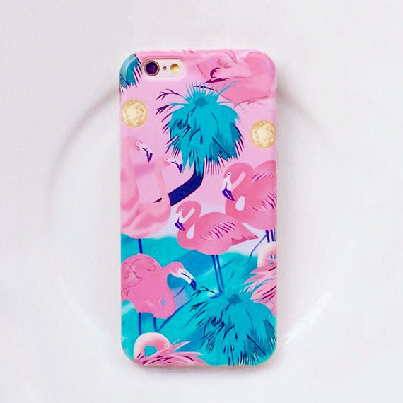 Flamingo phone case , tropical bird , palm tree, island, pink case, bird, iphone 6, iphone 6 plus, iphone 7, iphone 7 plus