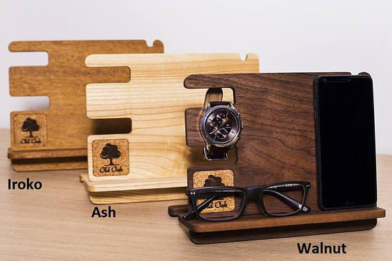 Iphone Charging Station , docking station, charging station, phone docking station, watch docking station, night vallet, organizer wooden