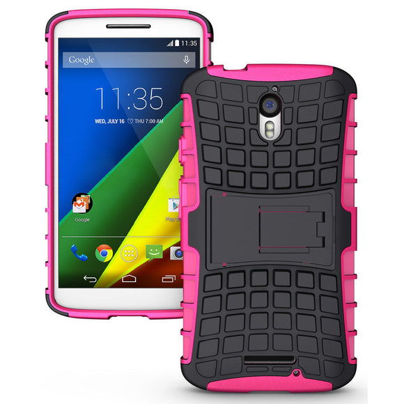 Motorola DROID Turbo 2 Case - Fosmon HYBO-RAGGED Detachable [Hybrid | Dual Layer] Kickstand Case for Motorola DROID Turbo 2 / Motorola Moto X Force - (Hot Pink/Black)