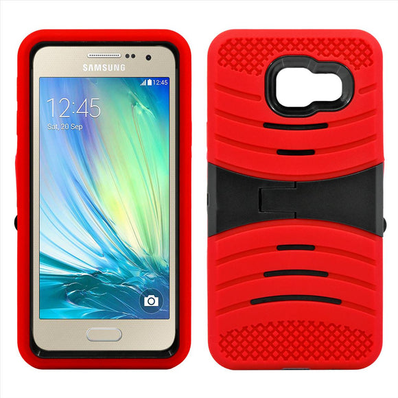 Samsung Galaxy A3 Hybrid Silicone Case Cover Stand Red