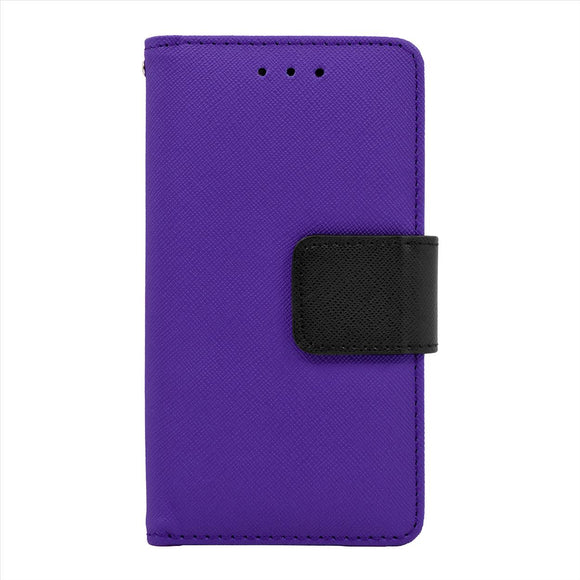 Samsung Galaxy A7 Leather Wallet Pouch Case Cover Purple