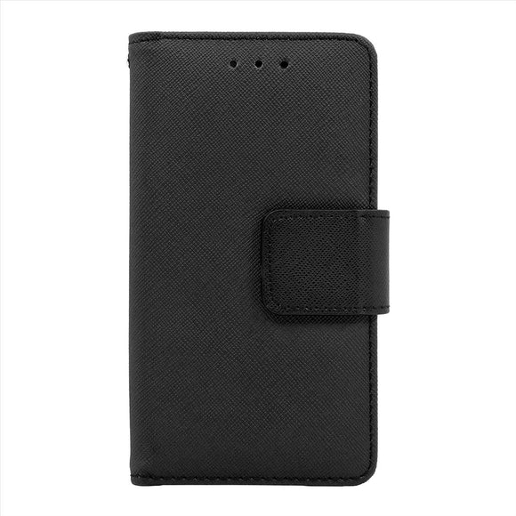 Samsung Galaxy A8 Leather Wallet Pouch Case Cover Black