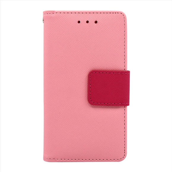Samsung Galaxy A8 Leather Wallet Pouch Case Cover Pink
