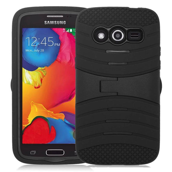 Samsung Galaxy Avant G386T Hybrid Silicone Case Cover Stand Black