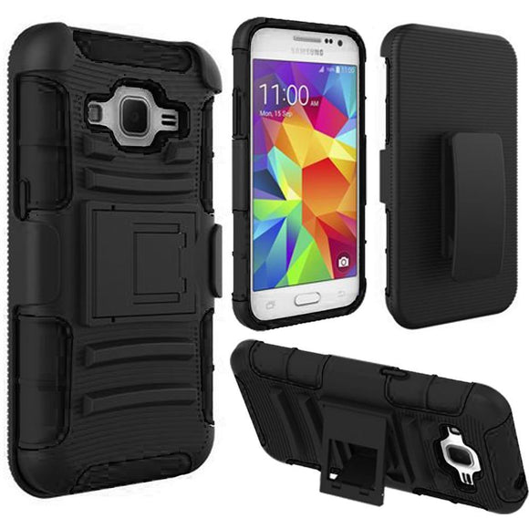 Samsung Galaxy Core Prime Prevail LTE / G360 Armor Belt Clip Holster Case Cover Black