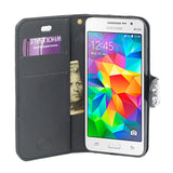 Samsung Galaxy Core Prime Prevail LTE / G360 Diamond Leather Wallet Case Cover Black