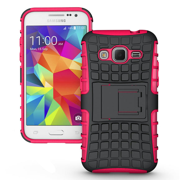Samsung Galaxy Core Prime Prevail LTE / G360 TPU Slim Rugged Hybrid Stand Case Cover Pink