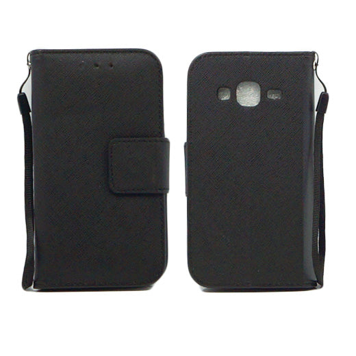 Samsung Galaxy Core Prime Prevail LTE / G360 Leather Wallet Pouch Case Cover Black