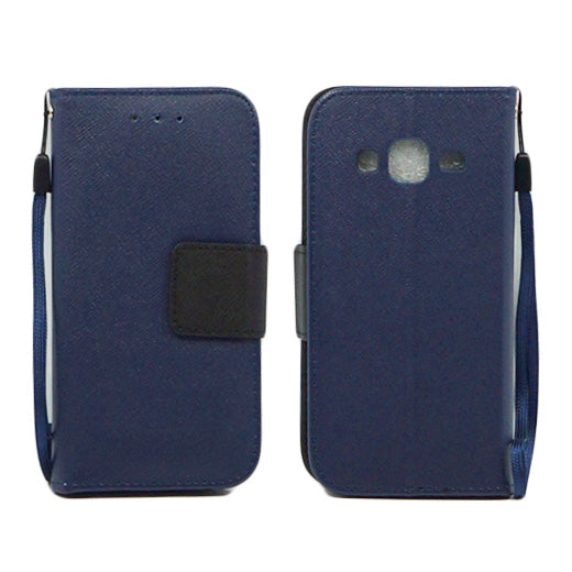 Samsung Galaxy Core Prime Prevail LTE / G360 Leather Wallet Pouch Case Cover Blue