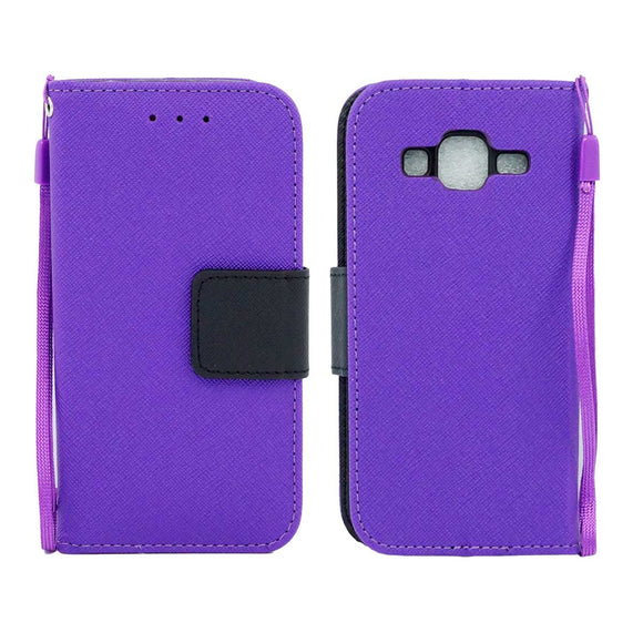 Samsung Galaxy Core Prime Prevail LTE / G360 Leather Wallet Pouch Case Cover Purple