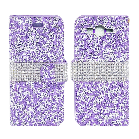 Samsung Galaxy Grand Prime SM-G530 Diamond Leather Wallet Case Cover Purple
