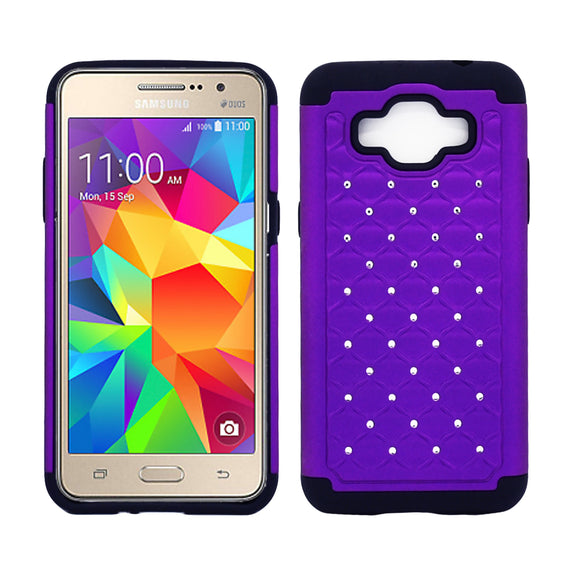 Samsung Galaxy Grand Prime SM-G530 Diamond Hybrid Rugged Case Cover Purple