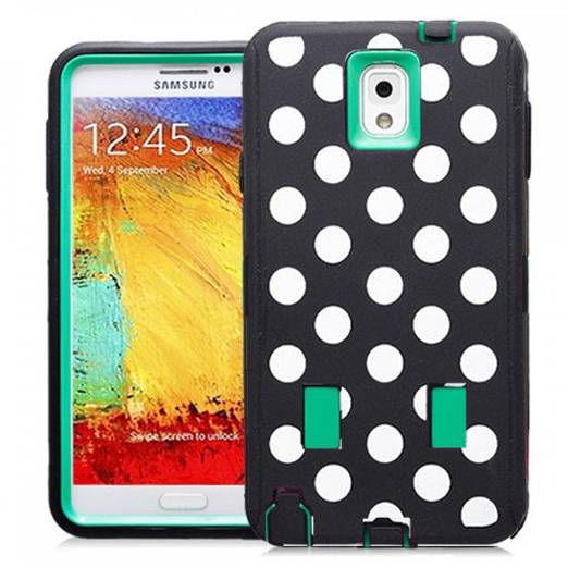 Samsung Galaxy Note 3 Polka Dots Rubber Hard Full Body Case Cover Green