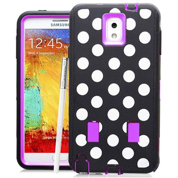 Samsung Galaxy Note 3 Polka Dots Rubber Hard Full Body Case Cover Purple
