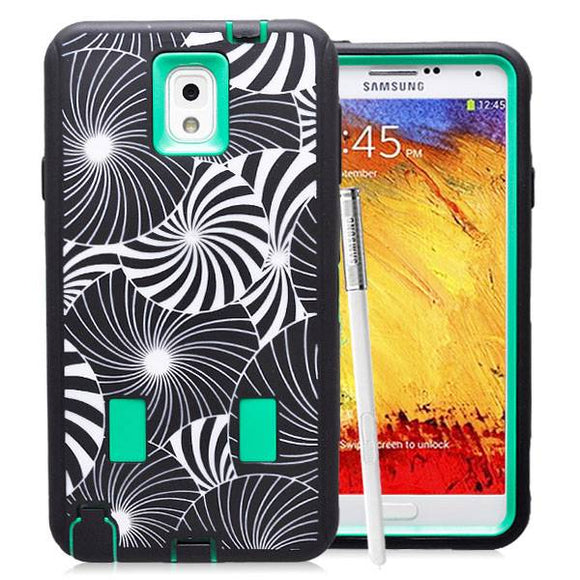 Samsung Galaxy Note 3 Flower Rubber Hard Full Body Case Cover Green