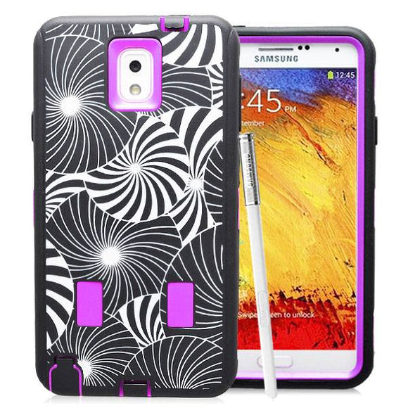 Samsung Galaxy Note 3 Flower Rubber Hard Full Body Case Cover Purple