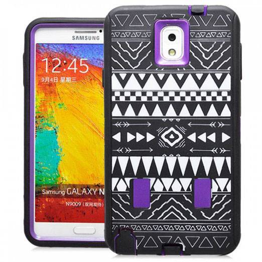 Samsung Galaxy Note 3 Tribal Rubber Hard Full Body Case Cover Purple