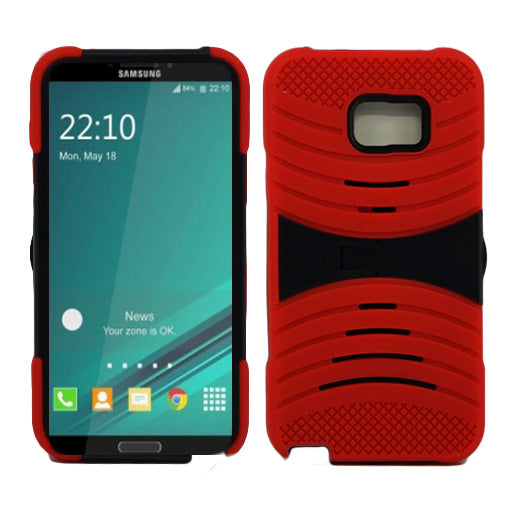 Samsung Galaxy Note 5 Hybrid Silicone Case Cover Stand Red
