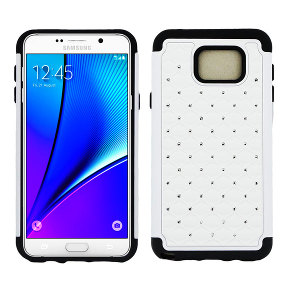 Samsung Galaxy Note 5 Diamond Hybrid Rugged Case Cover White