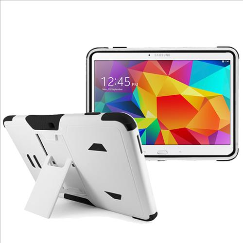 Samsung Galaxy Tab 4 10.1 / T530 Impact Silicone Case Dual Layer with Stand White Black