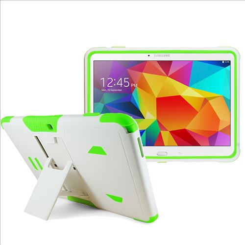 Samsung Galaxy Tab 4 10.1 / T530 Impact Silicone Case Dual Layer with Stand White Green