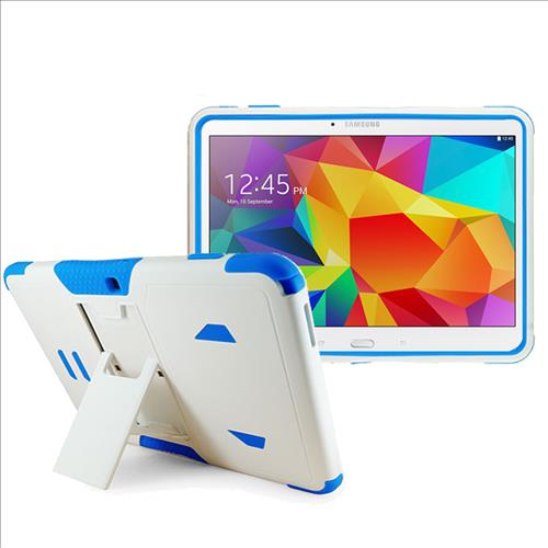 Samsung Galaxy Tab 4 10.1 / T530 Impact Silicone Case Dual Layer with Stand White Blue