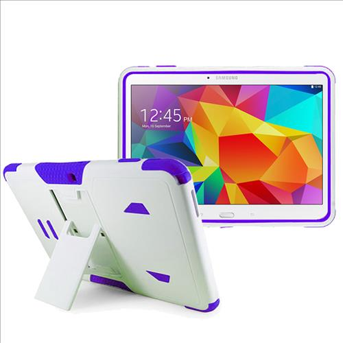 Samsung Galaxy Tab 4 10.1 / T530 Impact Silicone Case Dual Layer with Stand White Purple