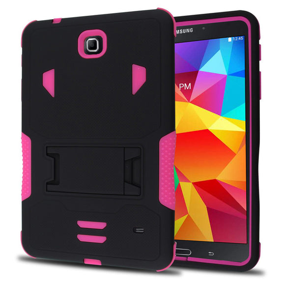 Samsung Galaxy Tab 4 8.0 / T330 Impact Silicone Case Dual Layer with Stand Pink