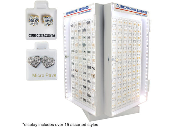 Cubic Zirconia / Micro Pave Earrings Light Up Display