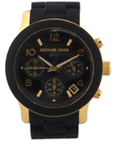 Michael Kors - MK5191 Chronograph Runway Gold-Tone Stainless Steel and Black Polyurethane Brace (1 Pc)