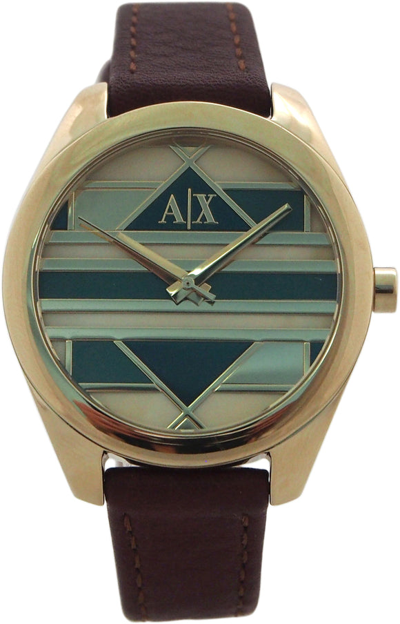 Armani Exchange - AX5524 Gold-Tone Mosaic Dial and Brown Leather