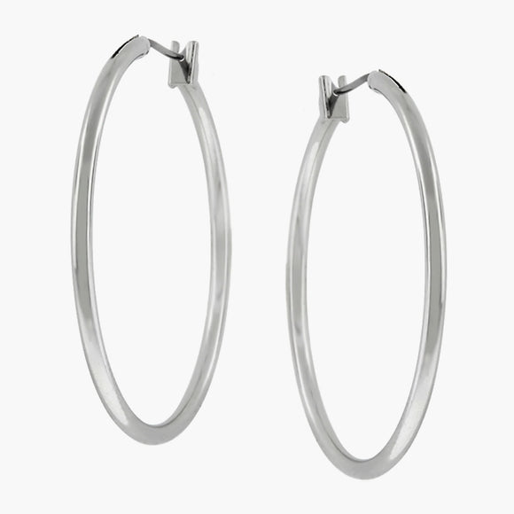 Basic Silvertone Finish Hoop Earrings