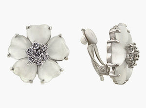 White Flower Nouveau Clip Earrings