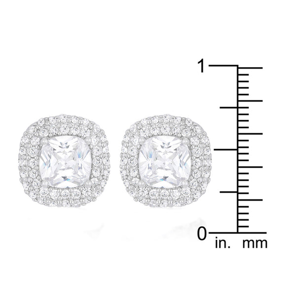 J Goodin Cubic Zirconia Silvertone Finish Classic Style Cushion Pave Stud Earrings