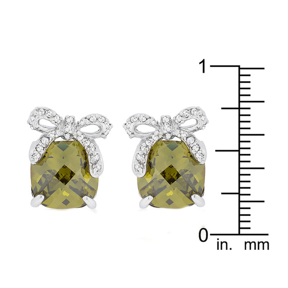 J Goodin Cubic Zirconia Silvertone Finish Classic Style Olivine Drop Earrings with Bow