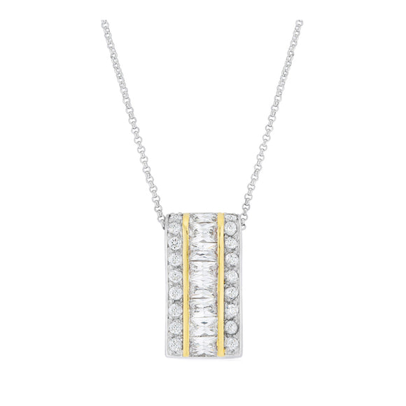 J Goodin Cubic Zirconia Classic Style Two-Tone Three Row Hoop Pendant For Women