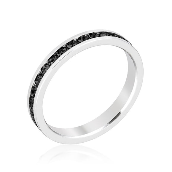 Stylish Stackables with Jet Black Crystal Ring Size 6